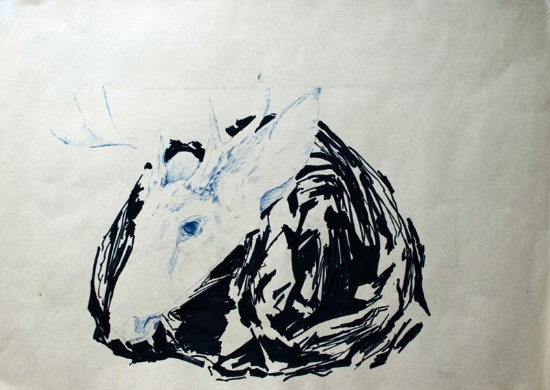 """dead deer"", 2009, 30x42cm, pen and feltpen on paper"